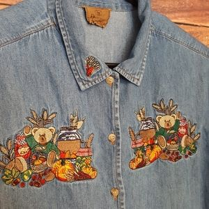📣2/36$📣 jeans embroidered button down shirt XXL